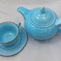 błękitny zestaw do herbaty