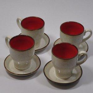 filiżanki biało czerwone